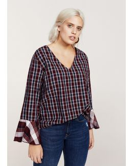 Ruffled Sleeve Checked Blouse