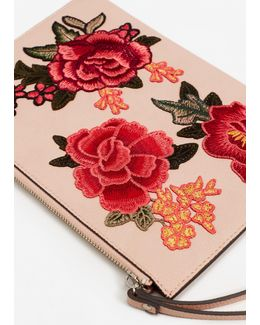 Floral Embroidered Cosmetic Bag