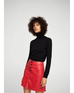 Contrast Buttons Skirt