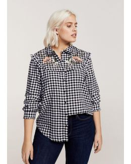 Floral Ebroidery Gingham Blouse