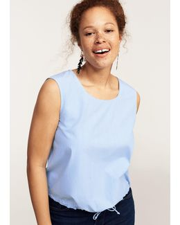 Elastic Cord Cropped Blouse