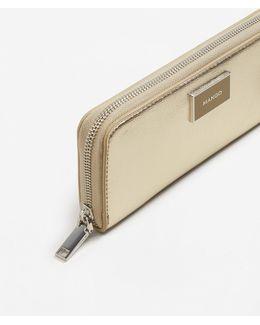 Zip Saffiano-effect Wallet
