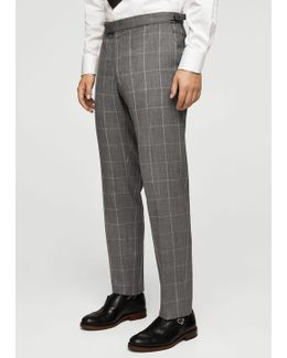 Slim-fit Check Wool Suit Trousers