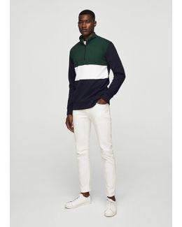 Cotton Contrast Panels Sweatshirt