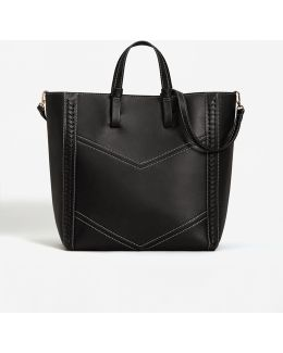 Contrast Seam Shopper Bag