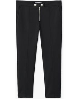 Zipped Straight Trousers
