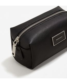 Saffiano-effect Cosmetic Bag