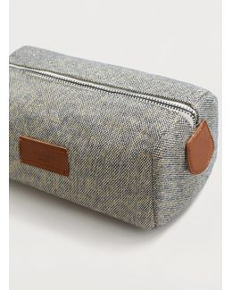 Textured Cotton Cosmetic Bag