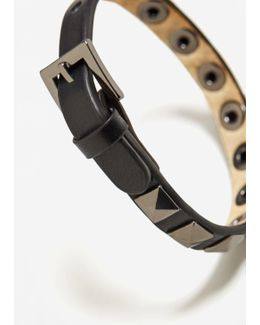 Metal Studded Leather Bracelet