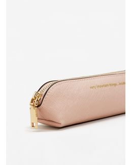 Message Saffiano-effect Cosmetic Bag