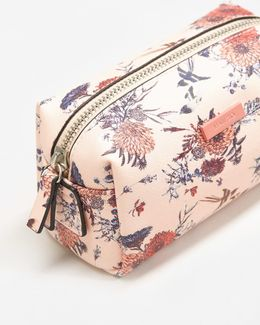 Floral Saffiano-effect Cosmetic Bag