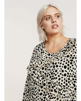 Ruffled Feline Print Blouse