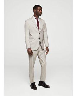 Slim-fit Patterned Suit Trousers