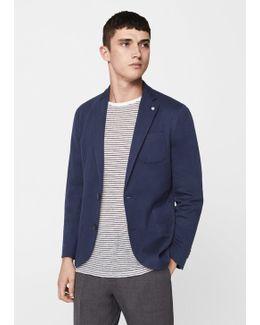 Slim-fit Patterned Cotton Blazer