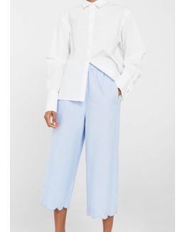 Scalloped Hem Crop Trousers
