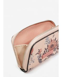 Floral Saffiano-effect Purse