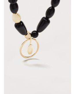 Beaded Metal Pendant Necklace