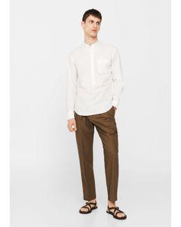 Regular-fit Mao Collar Shirt