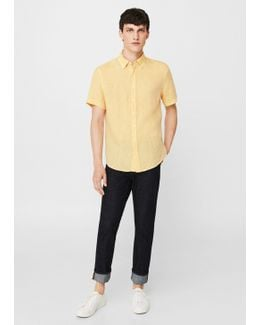 Slim-fit Short-sleeve Linen Shirt