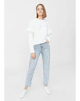 Ruffled Embroidered Sweatshirt