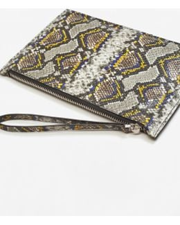 Snake-effect Cosmetic Bag