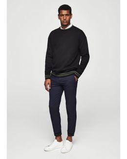 Contrasting Trims Cotton Sweatshirt