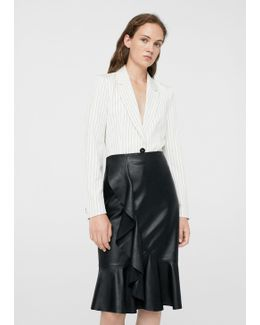 Fluted-hem Leather Skirt