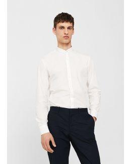 Slim-fit Mao Collar Cotton Shirt