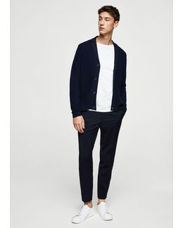 Lapel Cotton Cardigan
