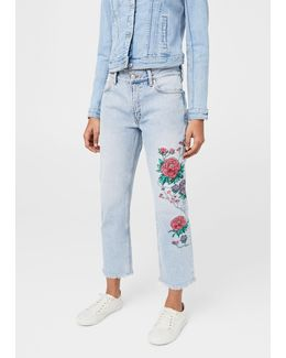 Dalia Embroidered Straight Jeans
