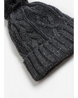 Pompon Cable-knit Beanie