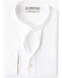 Regular-fit Mao Collar Cotton Shirt
