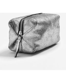 Metallic Leather Cosmetic Bag