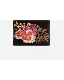 Flower Embroidered Velvet Clutch