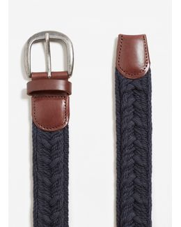 Leather-appliqué Braided Belt