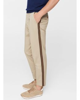 Contrasting Trims Cotton Chinos