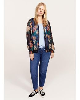 Sheer Printed Bomber Jacket