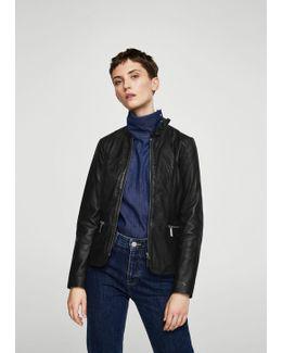 Ruffle Neck Leather Jacket