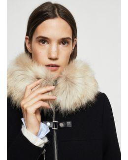 Faux-fur Appliqué Wool Coat