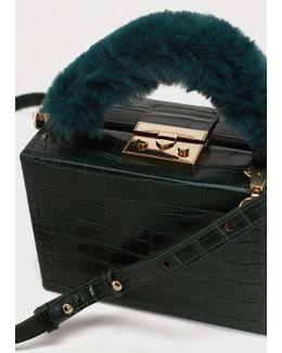 Faux-fur Handle Box Bag