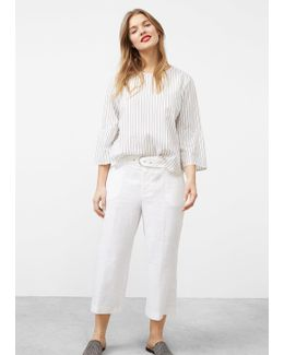 Cropped Linen-blend Trousers