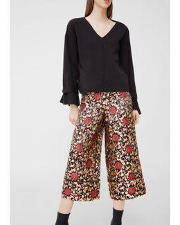 Metallic Thread Cropped Trousers