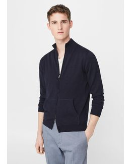 Zipped Cotton Cardigan