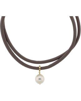 Pearl Leather Wrap Bracelet/choker