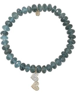 Double Heart Dark Aquamarine Beaded Bracelet