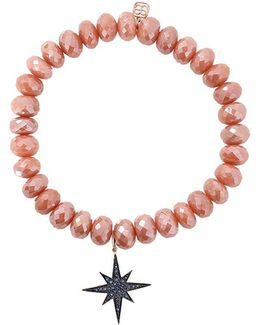Pave Starburst Brown Silverite Beaded Bracelet