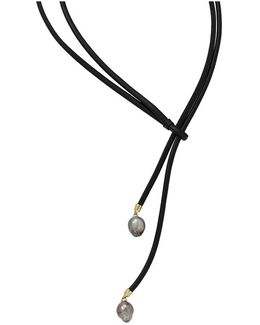 Leather Lariat Pearl Necklace