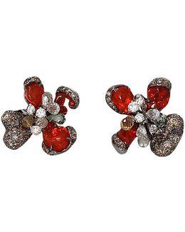 Mexican Fire Opal Baby Orchid Earrings