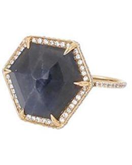 Hexagonal Blue Sapphire And White Diamond Ring