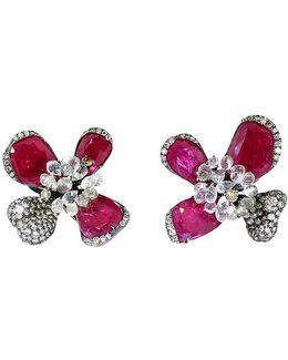 Ruby Orchid Earrings